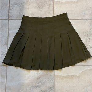Olive Green Pleated Mini Skirt